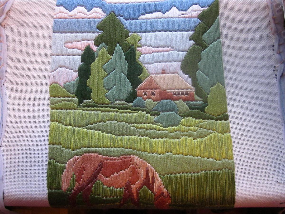 Схемы вышивки длинный стежок