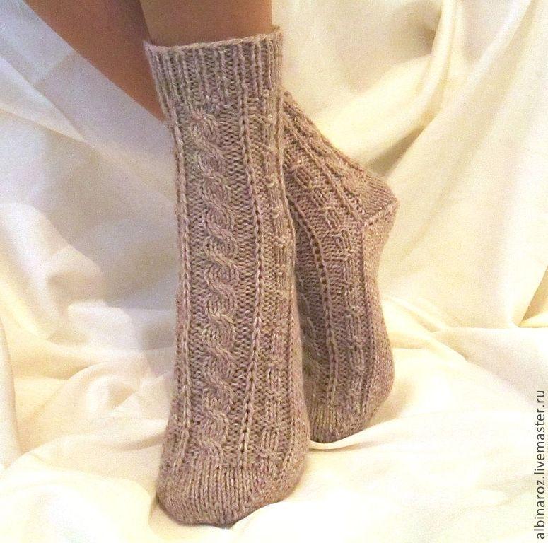 Вязание носок с косами 194