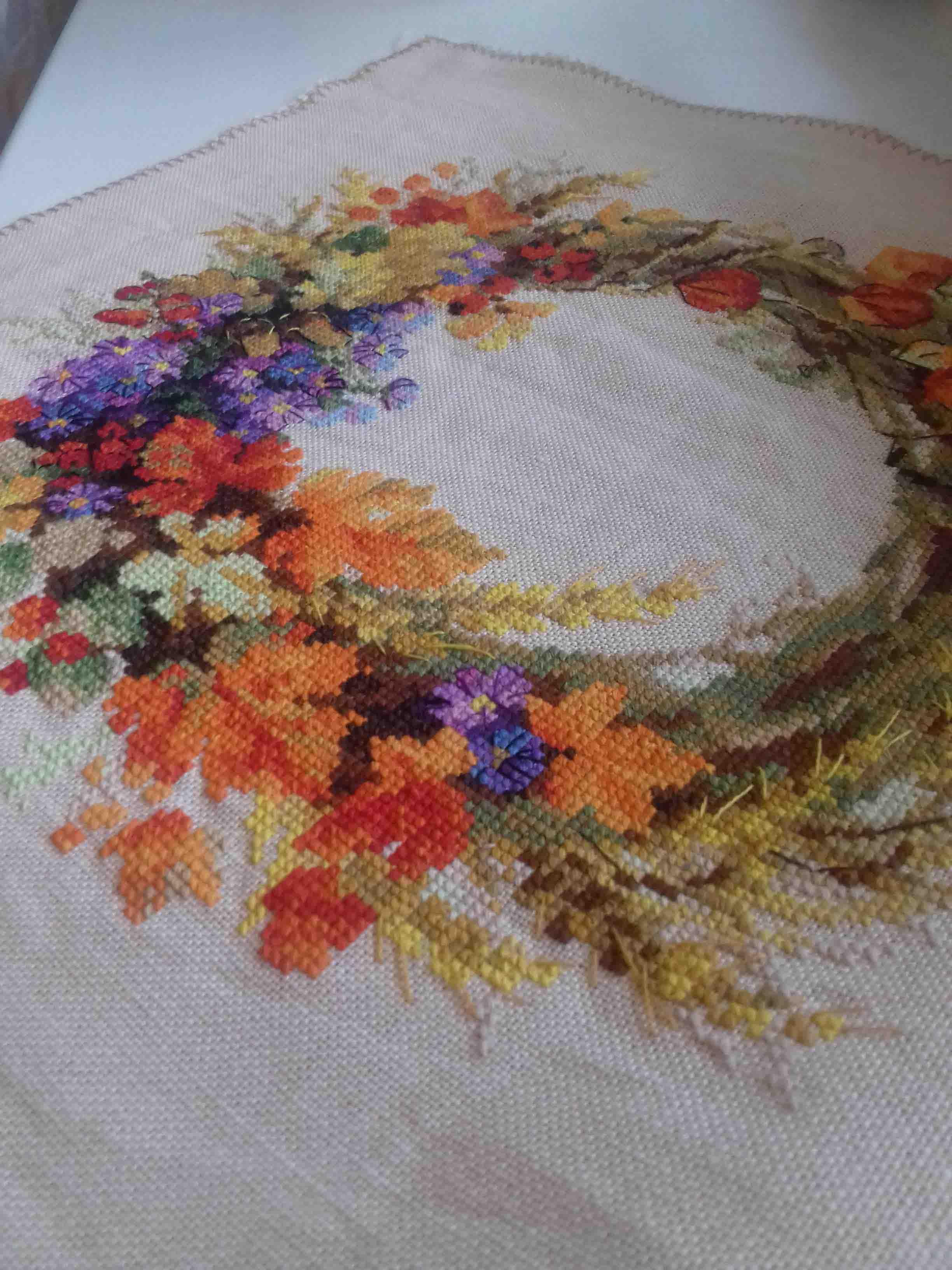 Вышивка венок с пшеницей риолис 68
