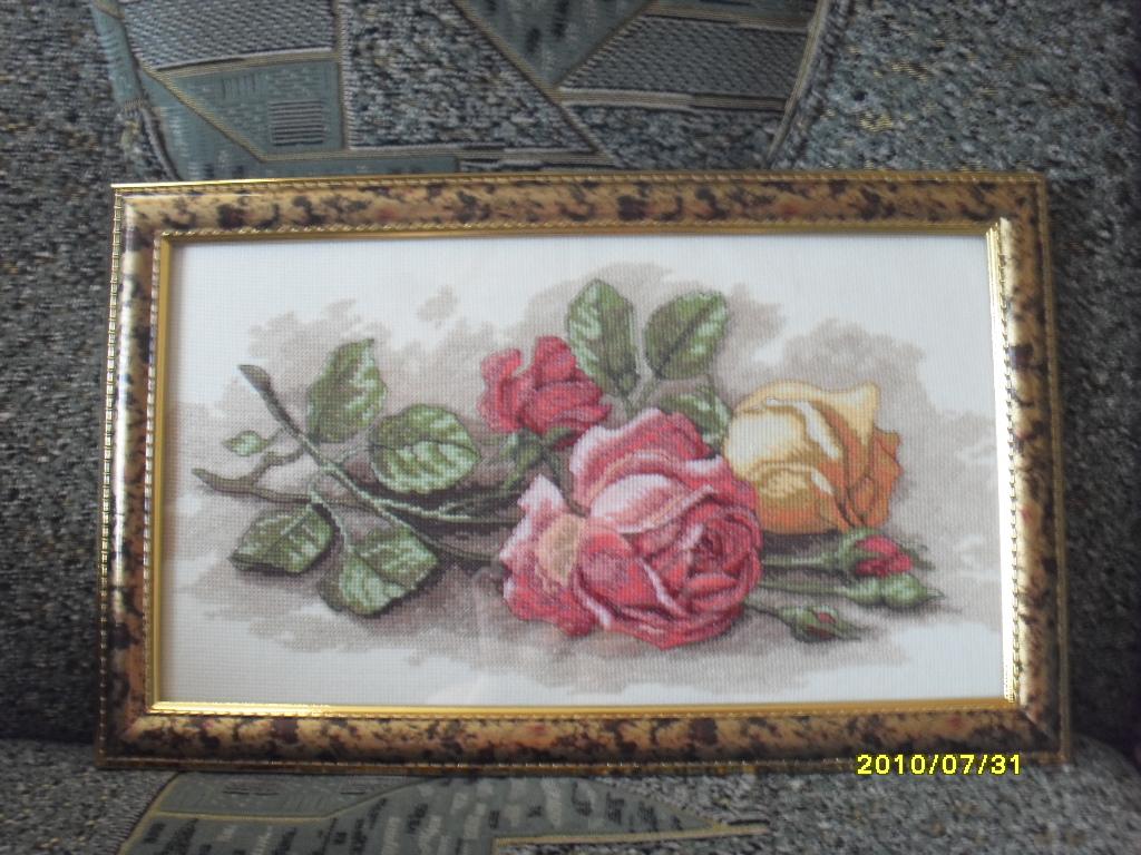 Вышивка срезанные розы дименшенс 50