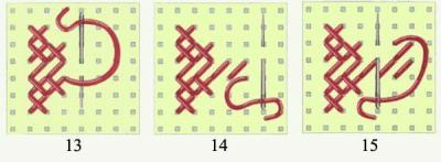 10.Иглой, расположенной острием вниз, выполните нижний диагональный стежок пятого ряда.  11.Закончите крестик верхним...