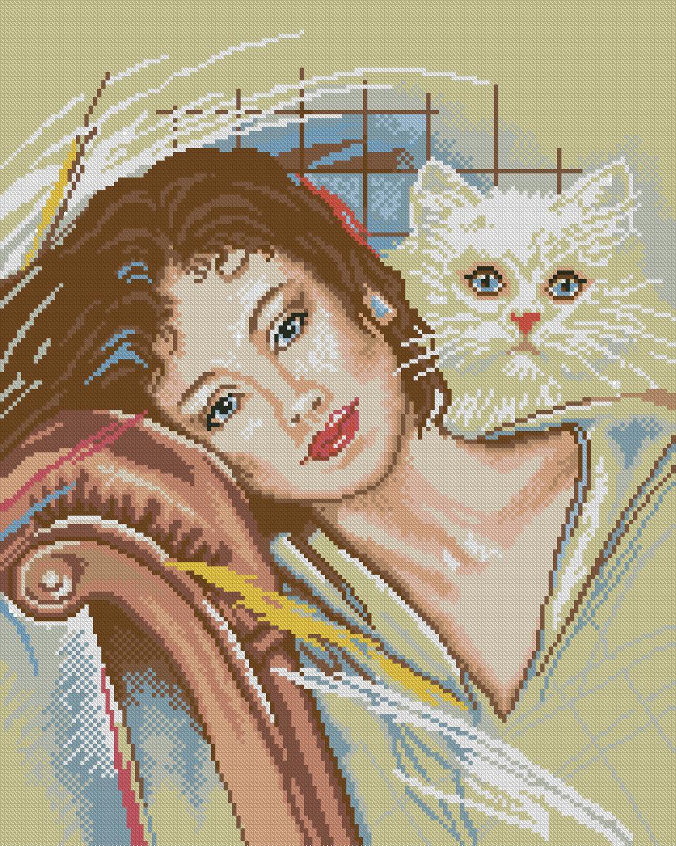 Вышивка женщина с котом