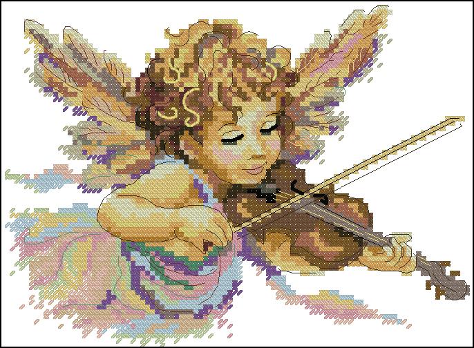 Вышивка крестом скрипка схемы