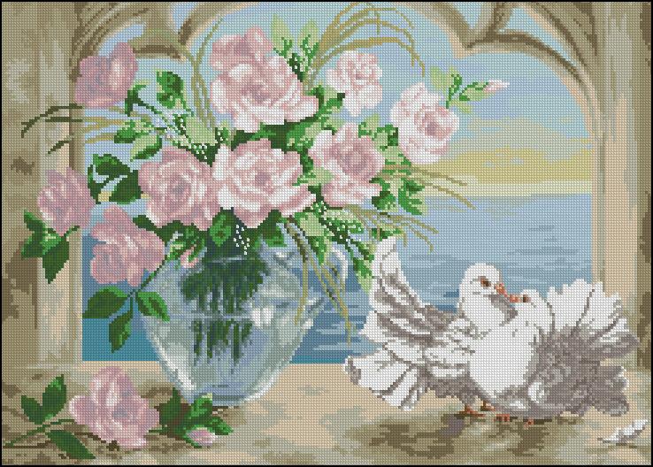 Вышивки крестом схемы бесплатно голуби