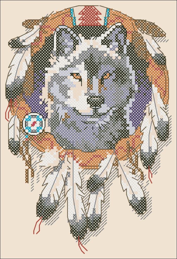 Ловец снов волк схема вышивки