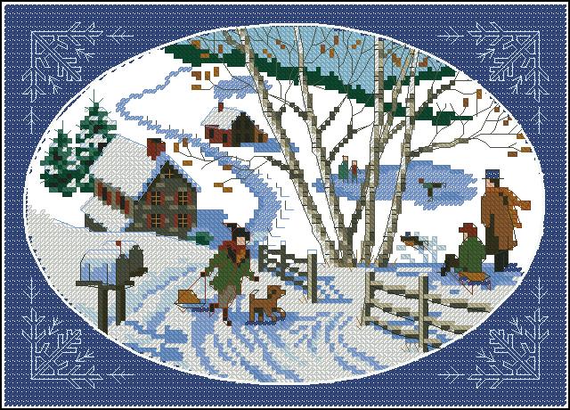 Зима в деревне вышивка крестом схема 819