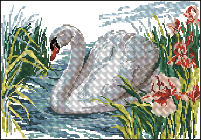 Схемы для вышивания лебедь