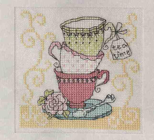 схема вышивки крестиком чашка чая