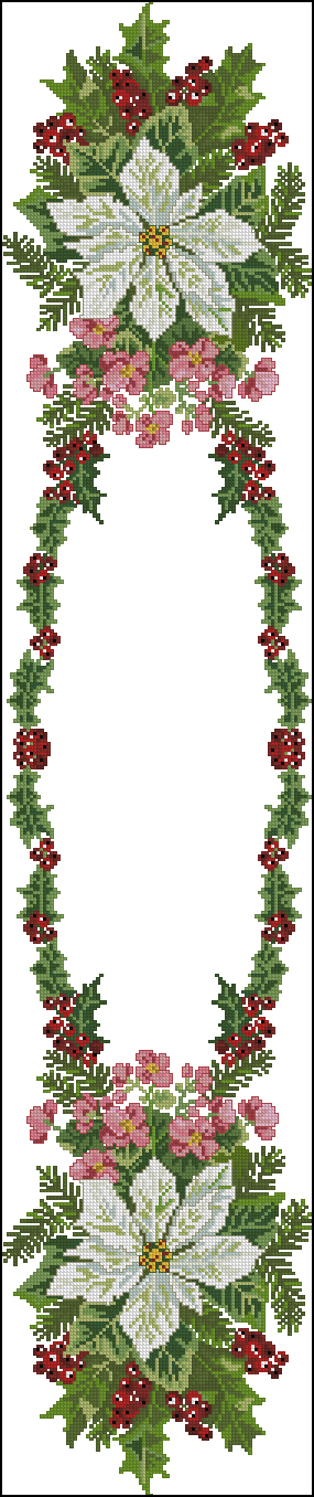 Christmas roses tablerunner