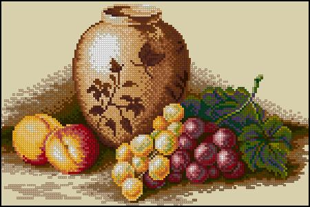 Персики и виноград