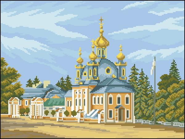 Мейер Вид на церковь Петергоф