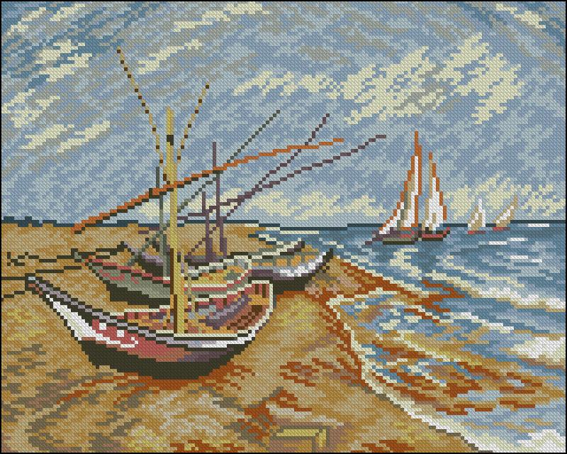 Вышивка крестом лодки 95