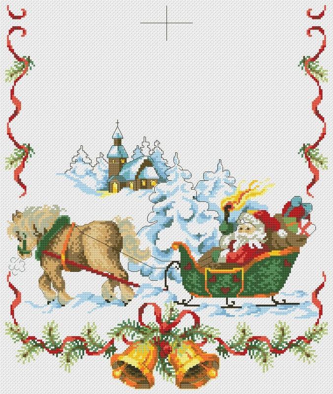 Вышивка крестом новогодняя скатерть