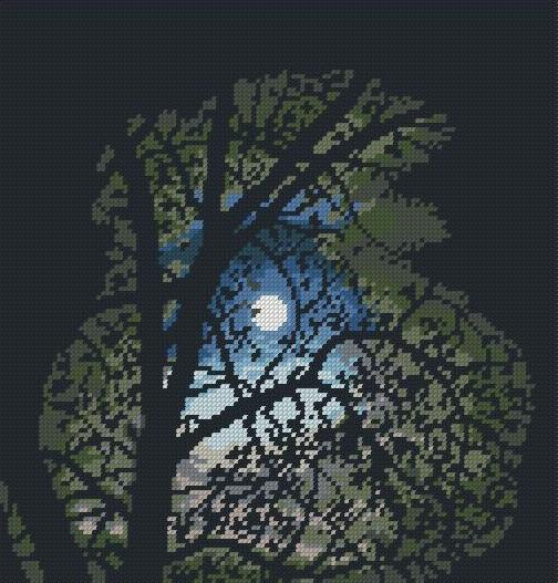 Лунная ночь вышивка схема
