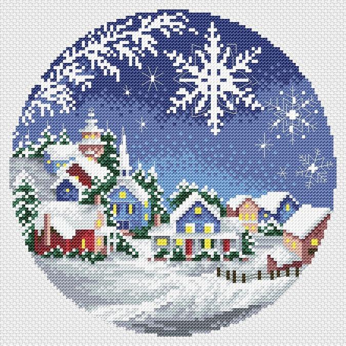 Вышивка крестиком схема зима