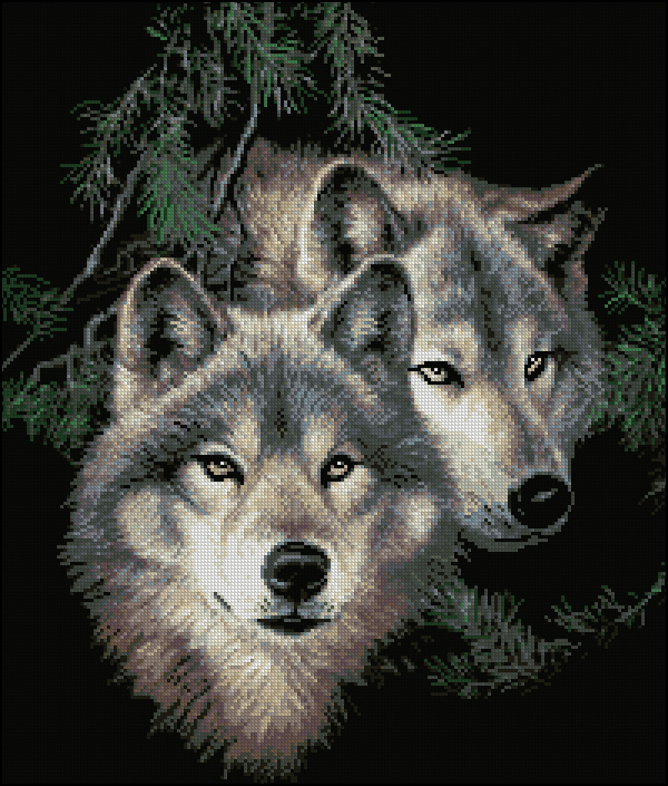 Вышивка пара волки скачать бесплатно