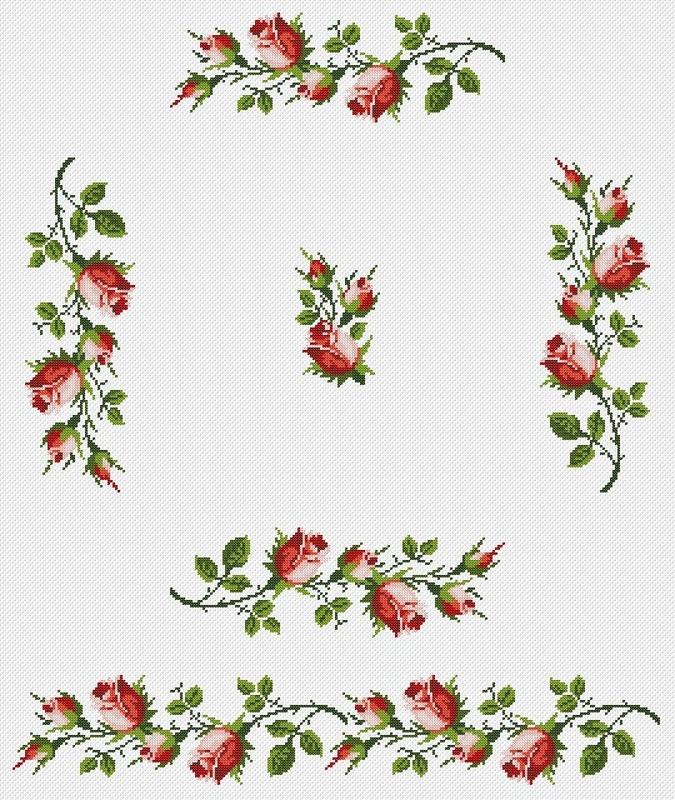 Бордюр розы вышивка крестом 46