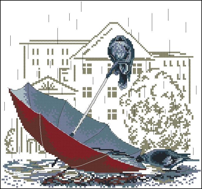 Вышивка крестом бесплатные схемы зонтики