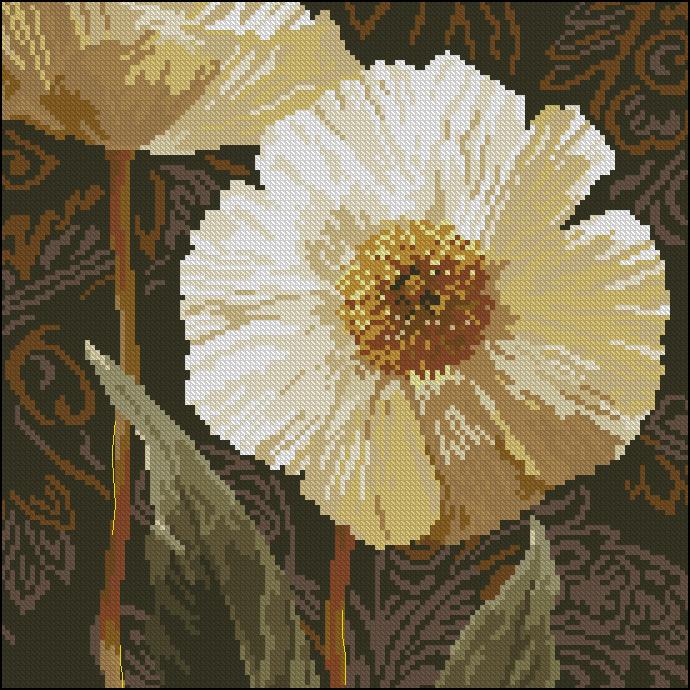 Вышивка крестом триптих цветы