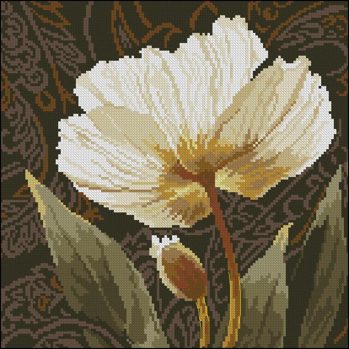 Скачать бесплатно схему вышивки крестом тюльпаны на черном