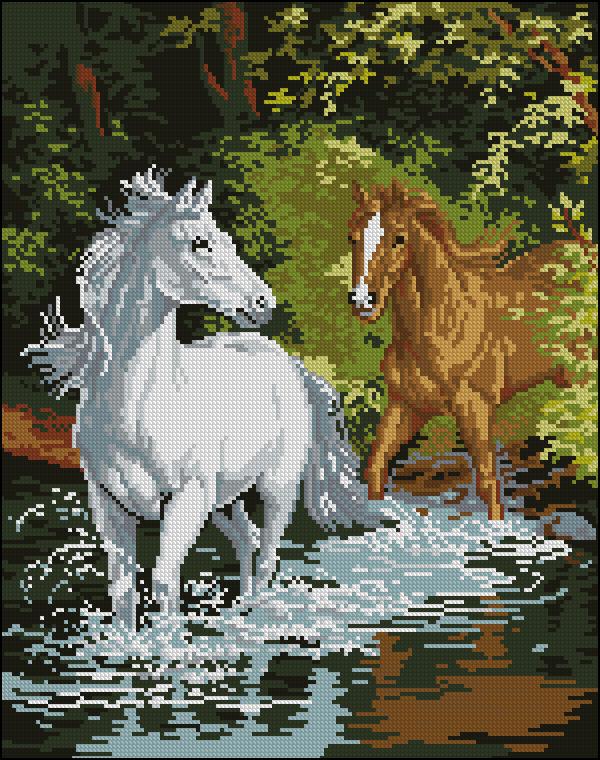 Схемы вышивки пары лошадей