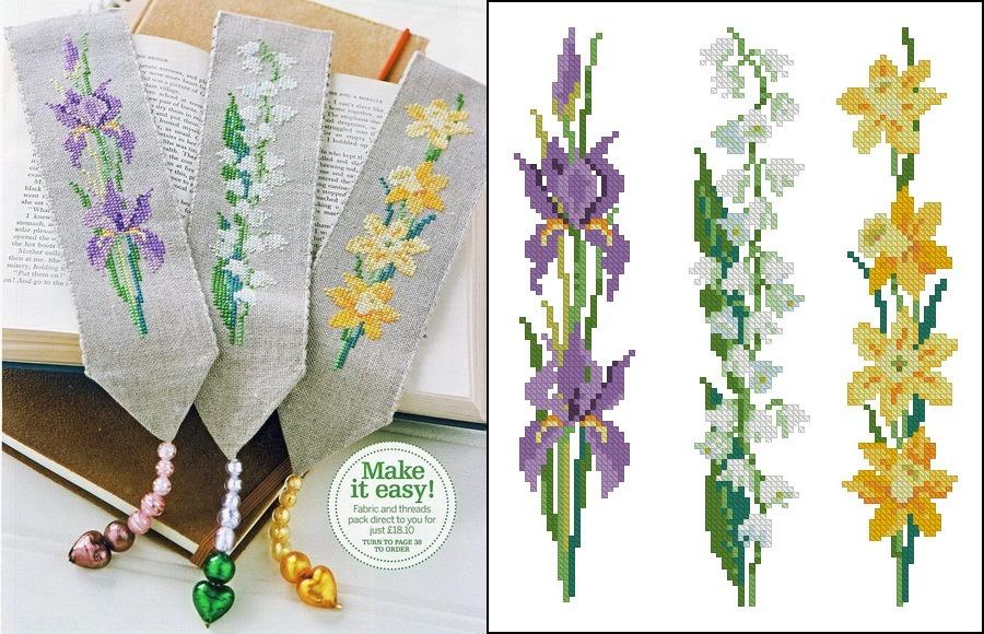 Схемы вышивки крестиком закладок