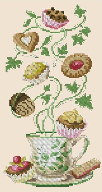 Схемы вышивки крестом чашки с цветами