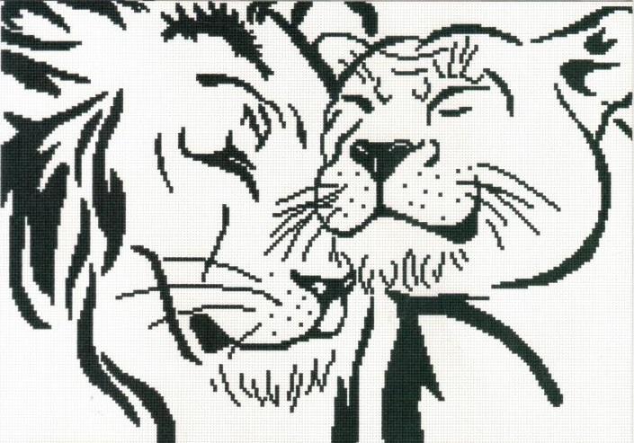 Вышивка крестом льва и львицы
