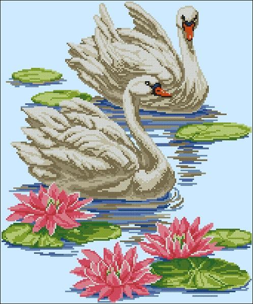 Схема вышивания лебедя