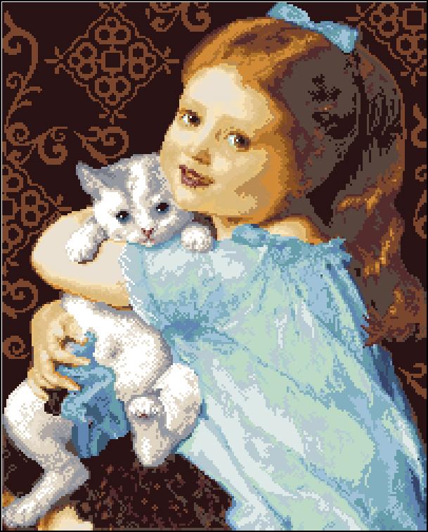 Вышивка девочка и кот 66