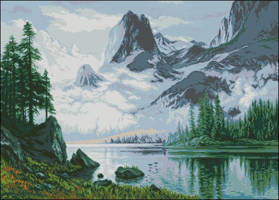 Вышивка пейзаж в горах
