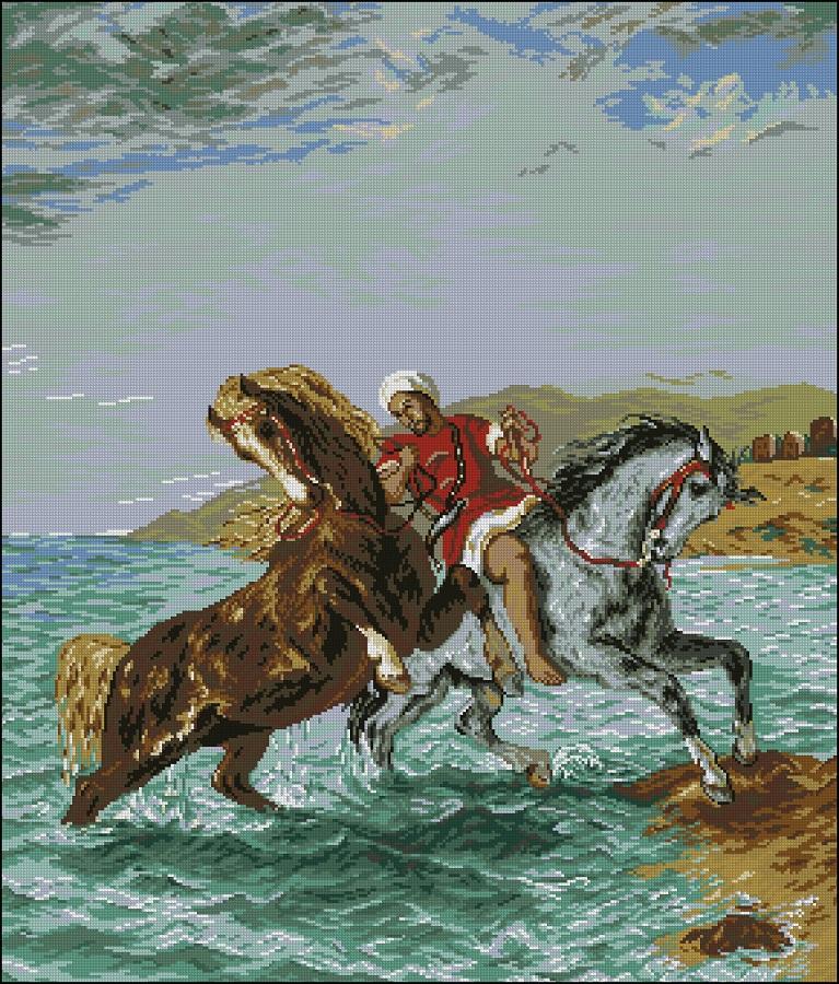 Вышивка бегущие от грозы лошади 81