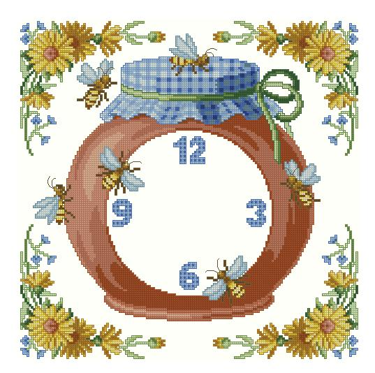 Вышивка часы с белками