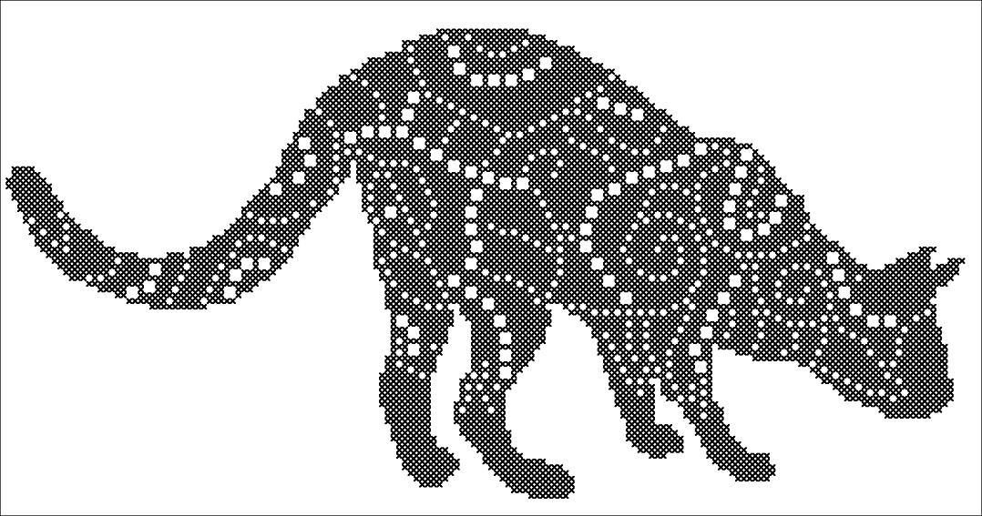 Схема вышивка монохром кот
