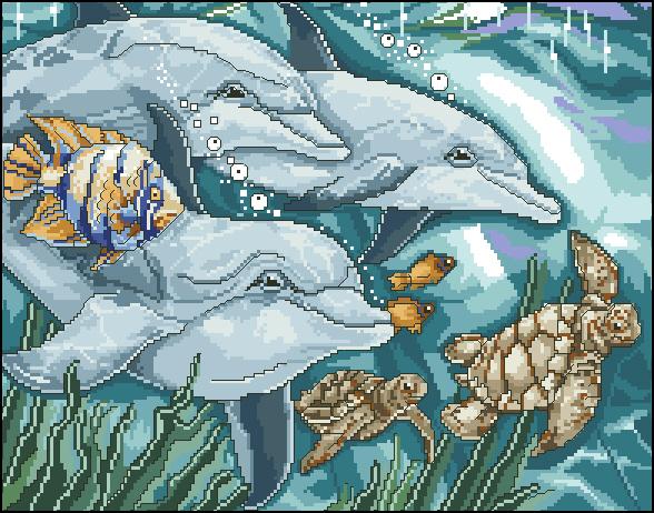 Схема вышивки морские обитатели 99