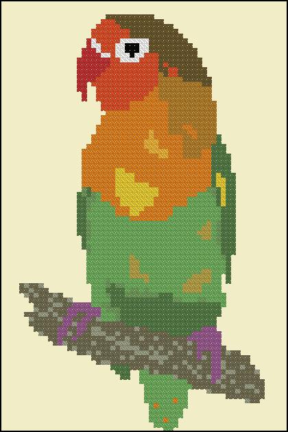 Вышивка крестиком схемы попугай