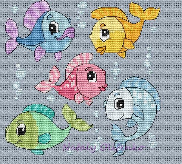 Маленькая рыбка вышивка схема