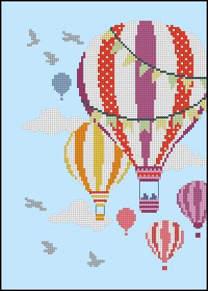 Воздушный шар вышивка крестом схема