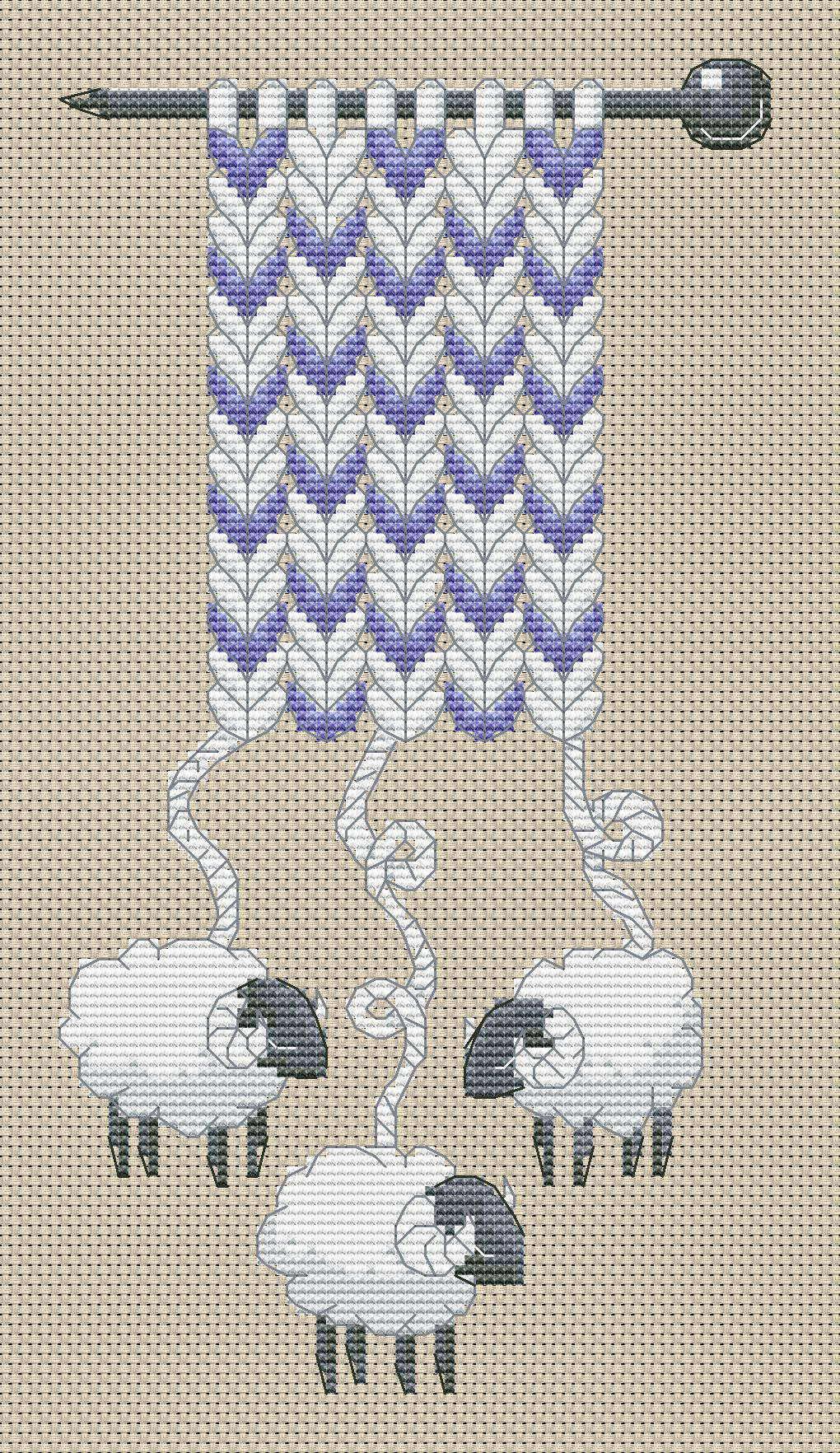Схема для вышивки крестом овец