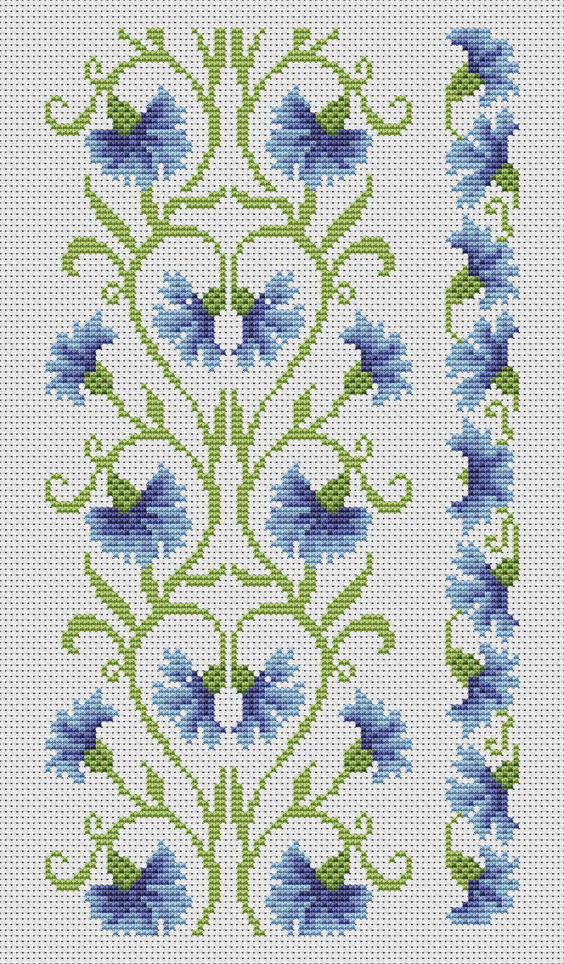 схема вышивки васильки и ромашки