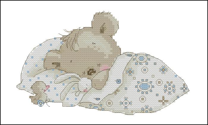Спящий мишка вышивка схема