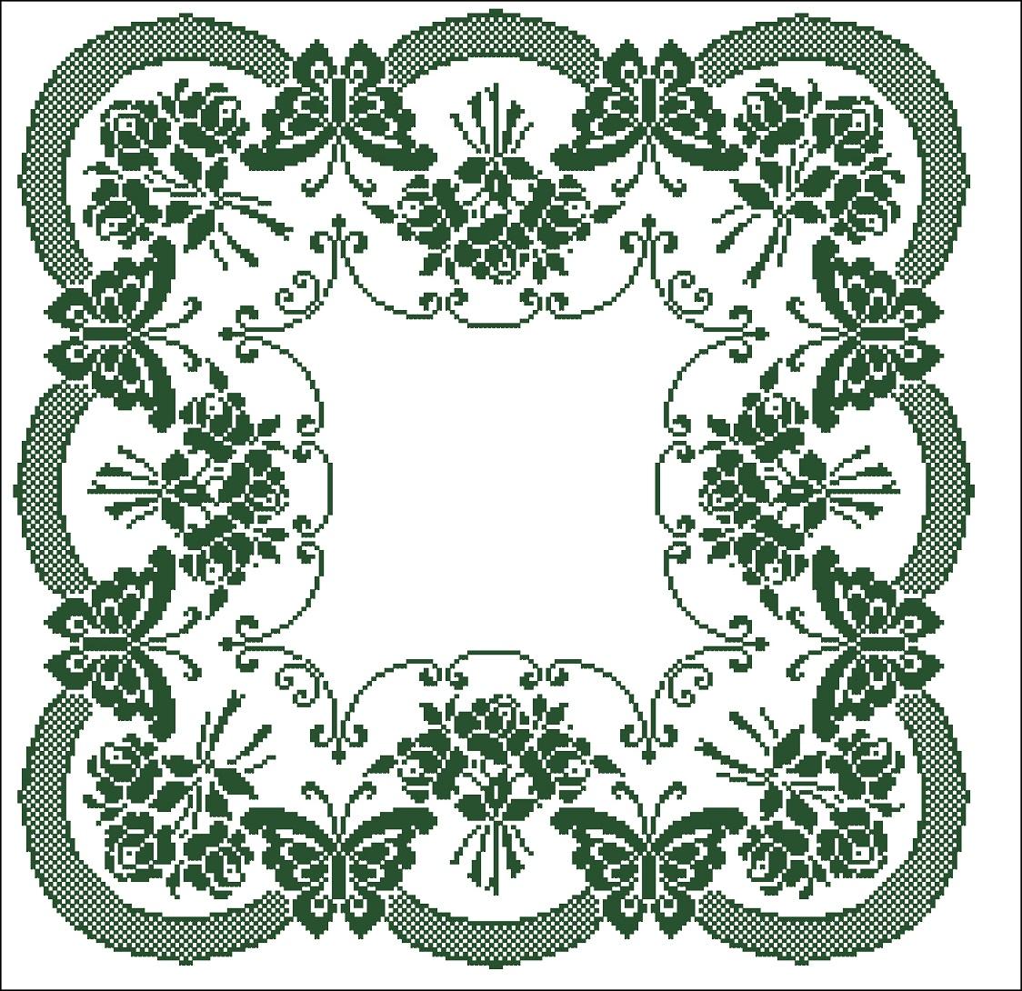 схема вышивки крестом единорога с цветами и бабочками