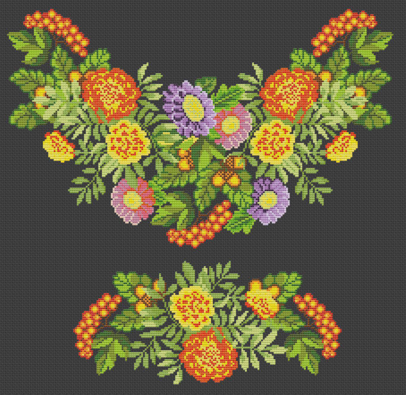 схема вышивки для женской вышиванки