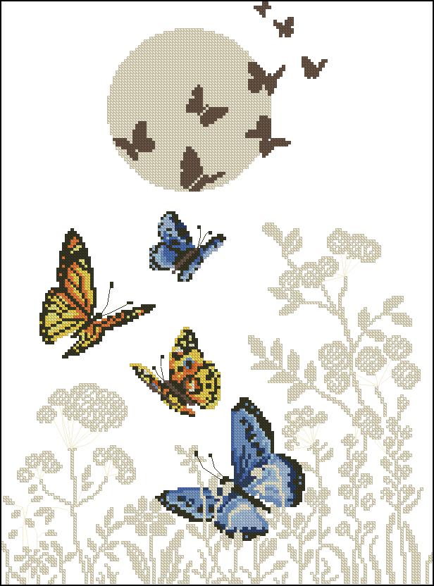 Сердце из бабочек вышивка крестом 93