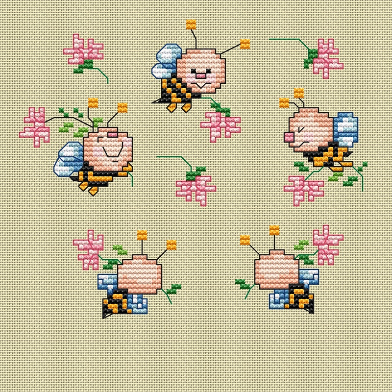 Схему вышивки крестом пчелка 13