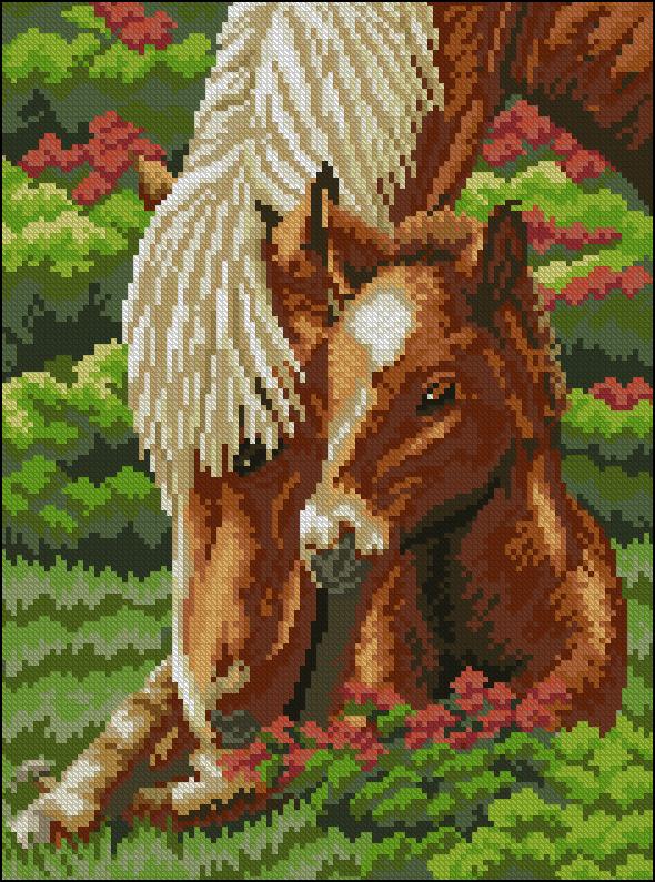 Вышивка с лошадью и с собакой