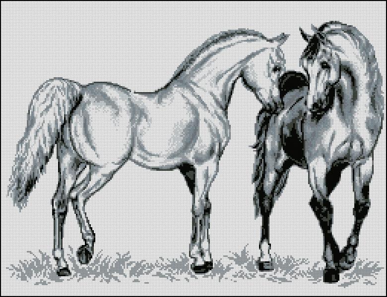 Лошадки схема вышивки скачать