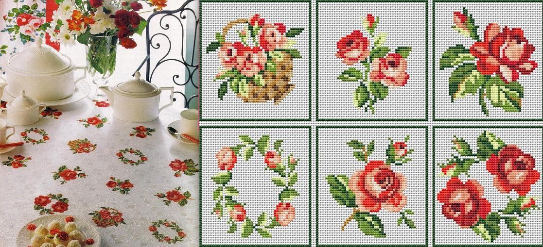 схема вышивки скатерти крестом фрукты