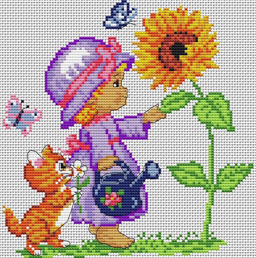 Схема вышивки мало цветов 14