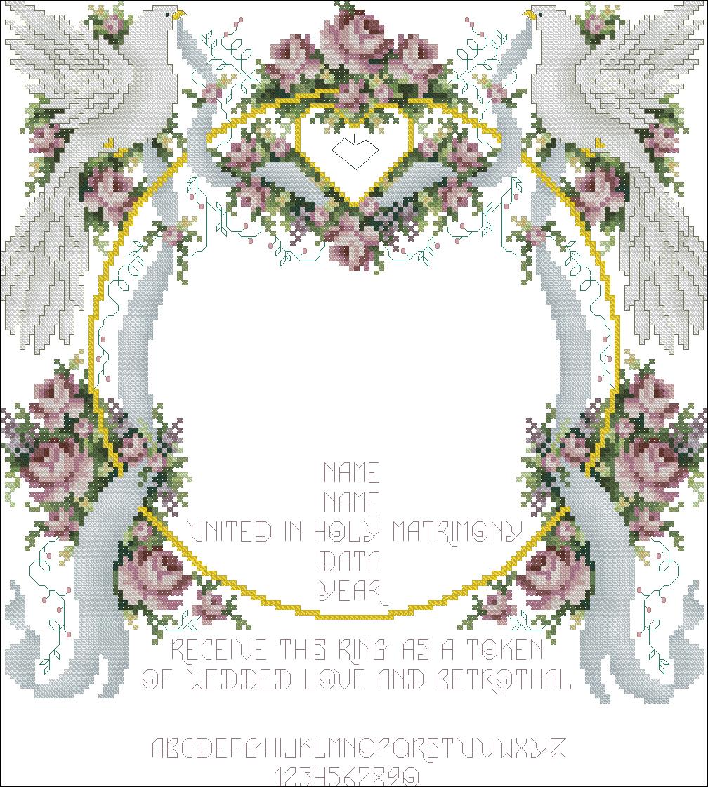 схема для вышивания крестом свадебные